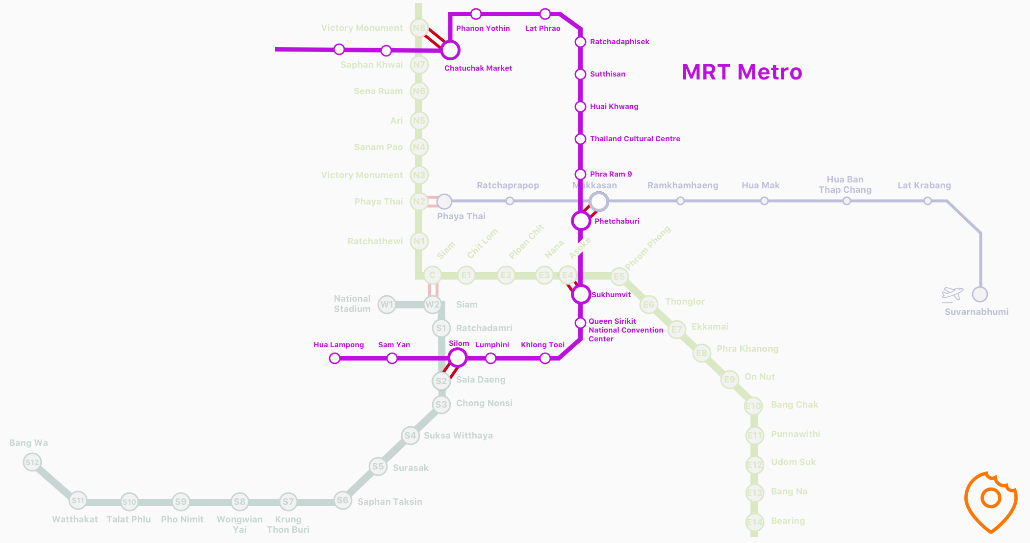 Map of MRT in Bangkok