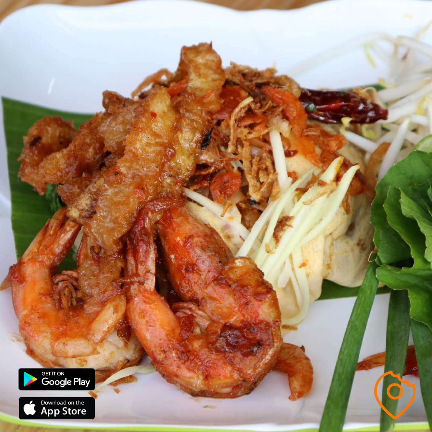 Pad Thai with Big Prawns