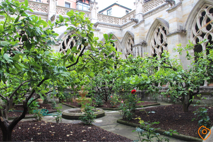 Inner Cloister Garden at Cathedral of Bilbao