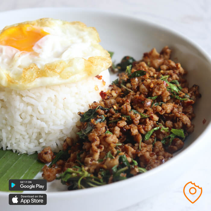 pad kra pao bangkok yakyai jaidee close up