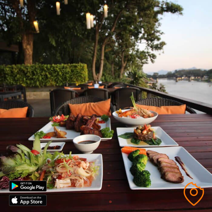 Food near the bridge over River Kwai