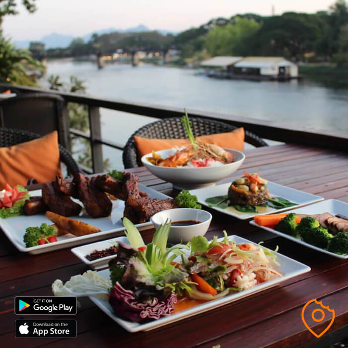 Loft restaurant near the bridge over River Kwai