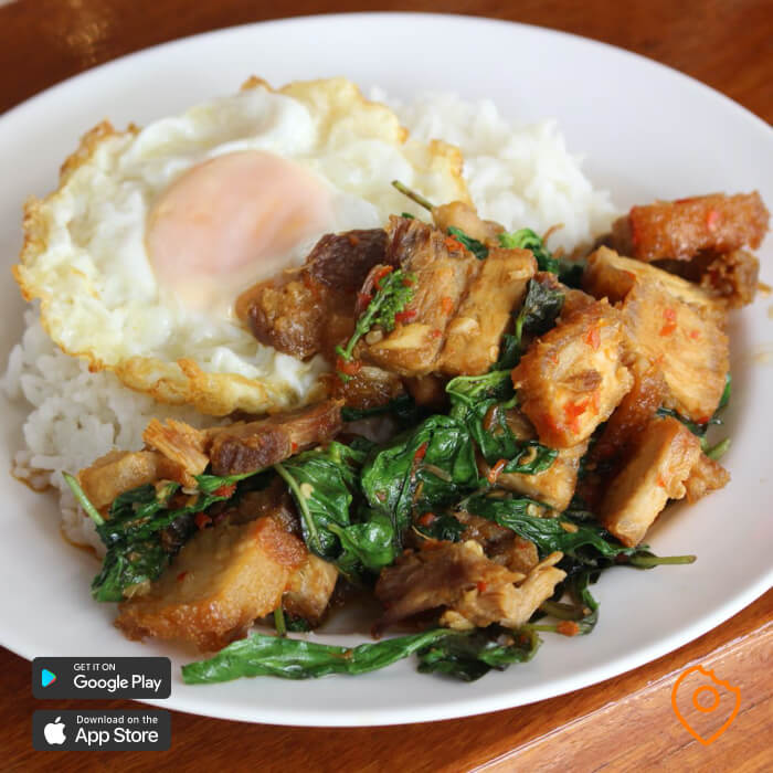 spicy thai food pad kra pao