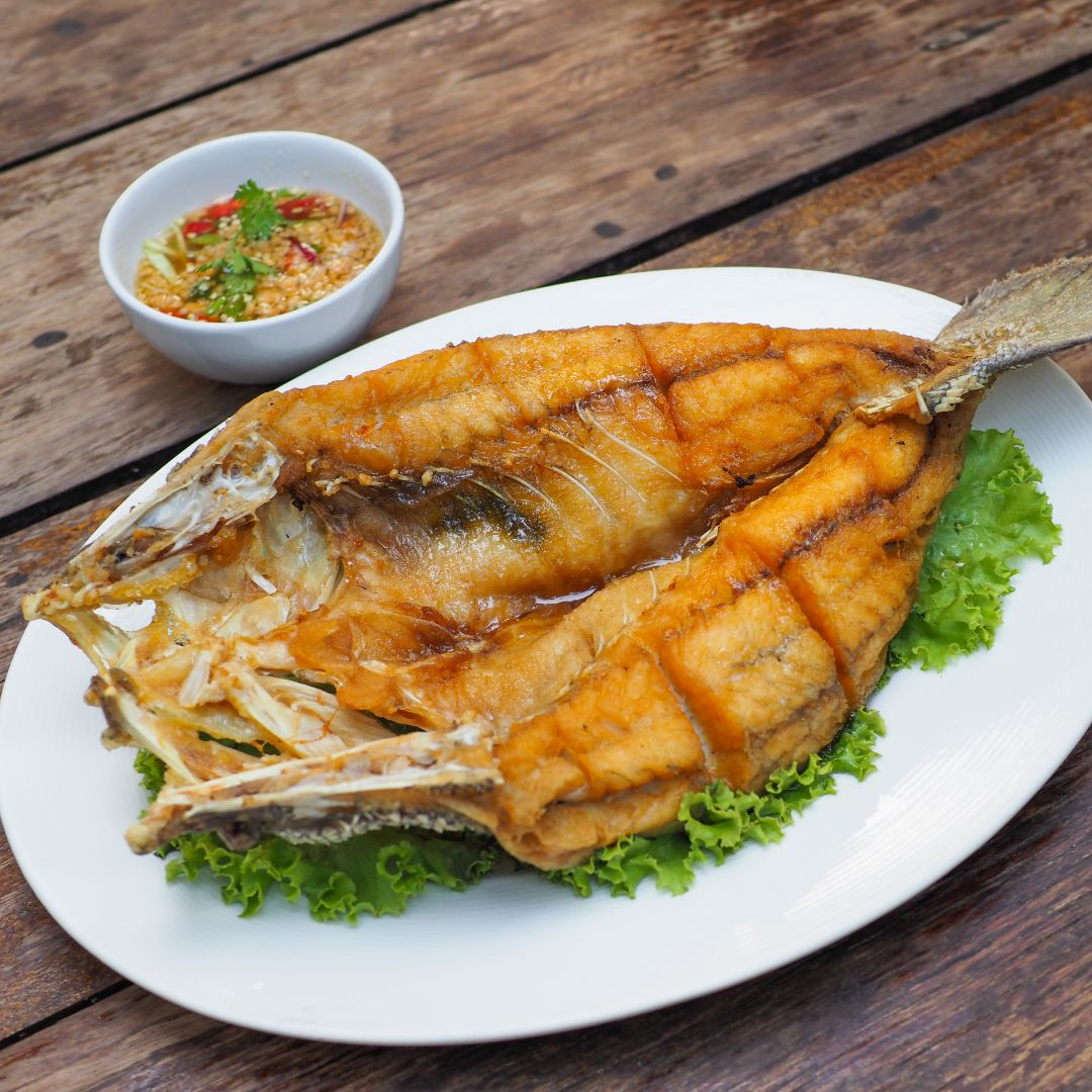 fried sea bass with oyster sauce