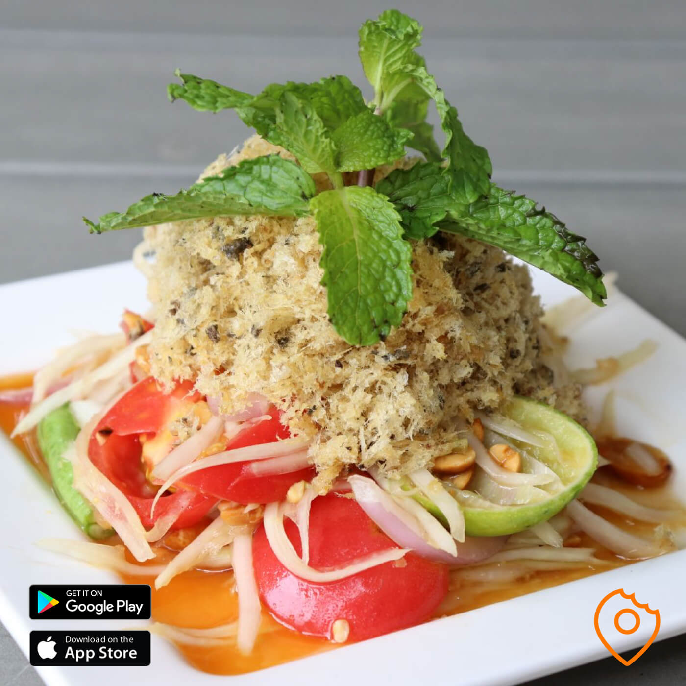 Spicy Papaya Salad with Deep Fried Minced Catfish